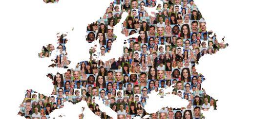 Europa Karte Menschen junge Leute Gruppe Integration multikulturell Vielfalt